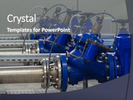 Presentation featuring fluid mechanics - water pumping station with booster background and a gray colored foreground.