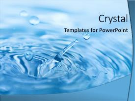Presentation having water splash background and a light blue colored foreground.
