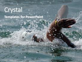 PPT theme having water swimming - openwater swimmer races background and a gray colored foreground.