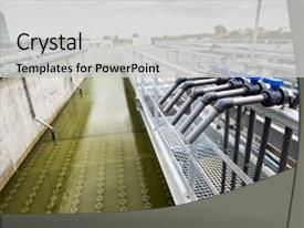 Cool new PPT layouts with water treatment plant piping system backdrop and a light gray colored foreground.
