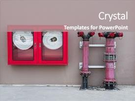 Cool new PPT theme with water valve fire with fire backdrop and a gray colored foreground.