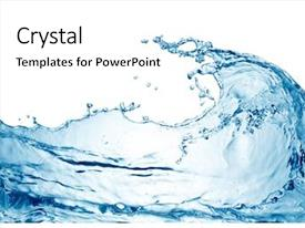 PPT theme with water wave background and a white colored foreground