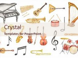 Amazing PPT theme having watercolor musical instruments set all backdrop and a  colored foreground.
