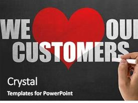 Audience pleasing PPT theme consisting of we love our customers backdrop and a dark gray colored foreground