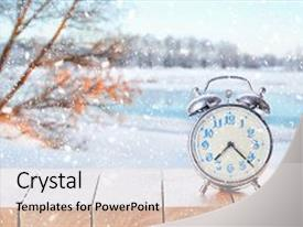 Presentation design enhanced with weather on winter season background background and a light gray colored foreground.