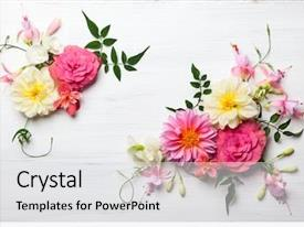 Presentation theme enhanced with wedding - festive flower composition background and a white colored foreground
