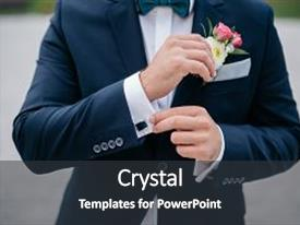 Slide deck consisting of wedding bouquet of the groom background and a dark gray colored foreground