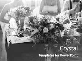 Presentation featuring wedding flowers wedding bouquet food background and a dark gray colored foreground.