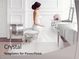 PPT theme with wedding preparation beautiful young bride background and a light gray colored foreground.