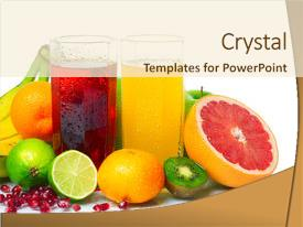 Presentation having wet ripe fruits with juice background and a cream colored foreground.