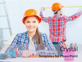 Colorful presentation design enhanced with what you do pleasant smiling woman drawing plan and sitting at the table with her husband making measurements in the background backdrop and a light gray colored foreground
