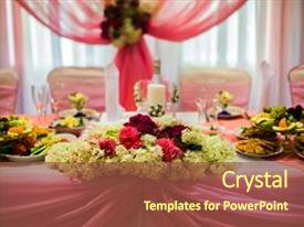 Amazing slide deck having white and purple flowers wedding backdrop and a tawny brown colored foreground.