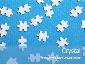 Theme featuring white details of a puzzle on blue background a puzzle is a puzzle from small pieces heart shape of the details hands folding puzzle in white background and a teal colored foreground.