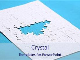 Audience pleasing presentation consisting of white details of puzzle on background a puzzle is a puzzle from small pieces heart shape of the details hands folding puzzle in white backdrop and a sky blue colored foreground.