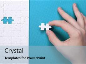 PPT theme featuring white details of puzzle on background a puzzle is a puzzle from small pieces heart shape of the details hands folding puzzle in white background and a  colored foreground.