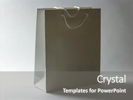 Cool new PPT theme with white gift package isolated backdrop and a gray colored foreground