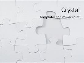 Slide set consisting of white jigsaw puzzle on white background and a white colored foreground
