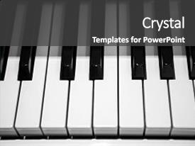 Amazing PPT theme having white piano keys music backdrop and a dark gray colored foreground
