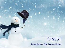Presentation theme featuring winter - new year greeting card background and a sky blue colored foreground