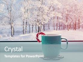 Theme with winter background - cup with candy cane on windowsill and winter forest outdoors cozy winter still life with concept of spending winter indoors with christmas and new year winter mood winter still life cozy winter composition background and a gray colored foreground.