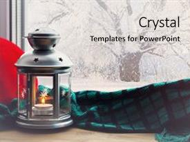 Colorful presentation design enhanced with winter background-lantern with candle backdrop and a light gray colored foreground.