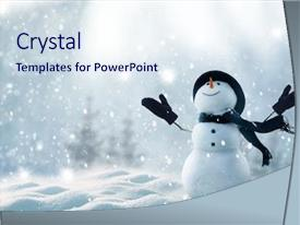 Amazing PPT theme having winter christmas landscape snow background backdrop and a sky blue colored foreground