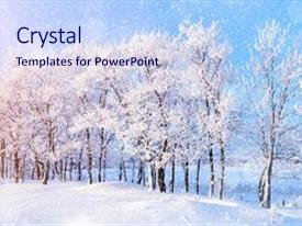 Cool new presentation design with winter landscape with falling snow backdrop and a sky blue colored foreground.