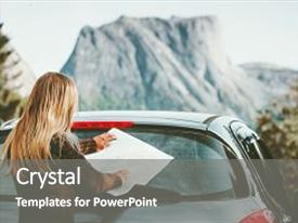 Colorful PPT theme enhanced with road trip planning journey backdrop and a gray colored foreground.
