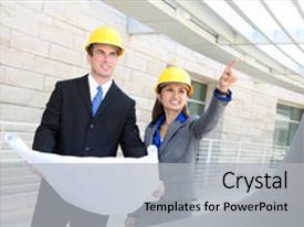 Cool new theme with woman construction team at building backdrop and a light gray colored foreground.