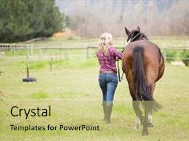 Beautiful slide deck featuring woman cowgirl riding a horse backdrop and a  colored foreground.