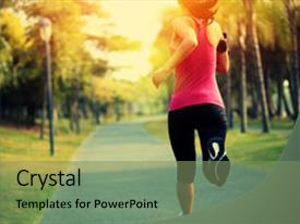 Audience pleasing presentation design consisting of music tropical - woman fitness jogging workout wellness backdrop and a seafoam green colored foreground.