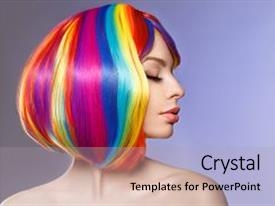 Slides consisting of woman hair as color splash rainbow up do short haircut beautiful young girl model with glowing healthy skin background and a light gray colored foreground.