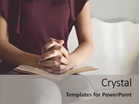 Amazing slide set having woman hands on bible backdrop and a light gray colored foreground.