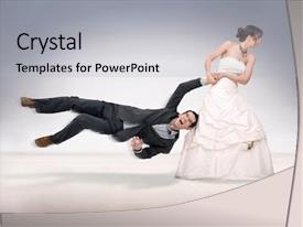 Beautiful PPT theme featuring woman hostage - bride abusing groom backdrop and a light gray colored foreground