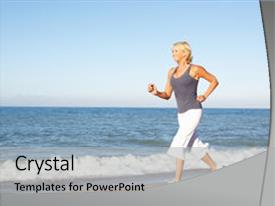 Colorful presentation theme enhanced with woman in fitness clothing running backdrop and a light gray colored foreground.