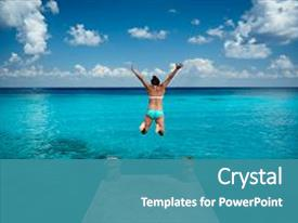 Audience pleasing PPT theme consisting of woman jumping in blue water backdrop and a  colored foreground.