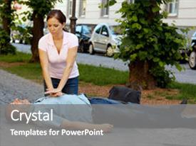 PPT layouts featuring woman makes first aid background and a gray colored foreground.