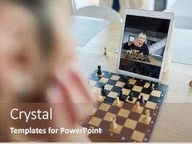 Beautiful slides featuring woman-playing-chess backdrop and a tawny brown colored foreground