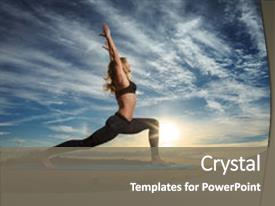 Presentation theme featuring woman practicing warrior yoga pose background and a gray colored foreground.