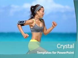 Colorful presentation design enhanced with running - woman runner listening to music backdrop and a teal colored foreground.