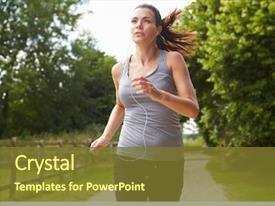 Presentation theme featuring woman running in countryside wearing background and a tawny brown colored foreground