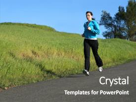 Cool new slides with woman running on a trail backdrop and a dark gray colored foreground.