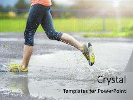 Amazing PPT theme having woman running on asphalt sports backdrop and a light gray colored foreground.