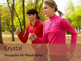 Slide deck featuring woman running - two young women jogging background and a red colored foreground.