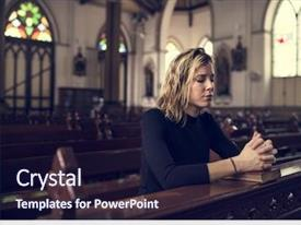 Presentation theme enhanced with woman sitting church religion concept background and a wine colored foreground
