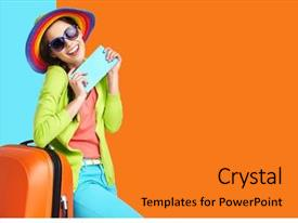 Colorful presentation design enhanced with woman tourist with travel suitcase backdrop and a gold colored foreground