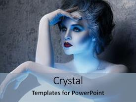 Colorful presentation theme enhanced with woman with creative makeup backdrop and a light blue colored foreground.