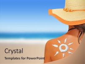 Cool new PPT theme with woman with sun shaped sunscreen backdrop and a coral colored foreground.