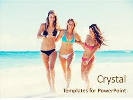 Cool new PPT theme with women walking on the beach backdrop and a cream colored foreground