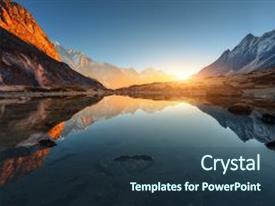 Presentation having wonderful landscape with high rocks with illuminated peaks stones in mountain lake reflection blue sky and yellow sunlight in sunrise nepal amazing scene with himalayan mountains himalayas background and a ocean colored foreground.